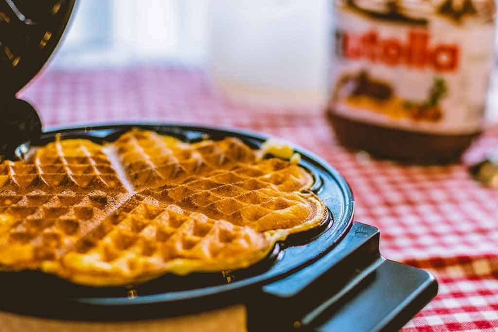 Heart-shaped-waffle-maker-Waffles-on-plate-how-to-make-waffles-from-scratch