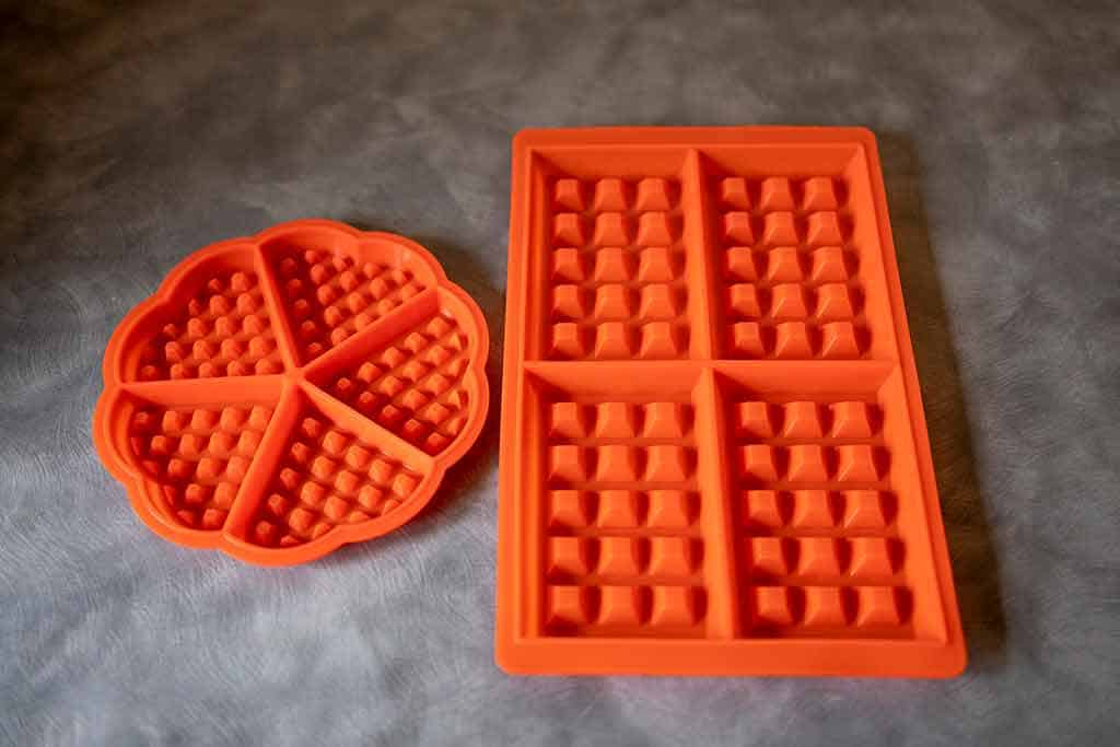 square and heart shaped silicone waffle molds